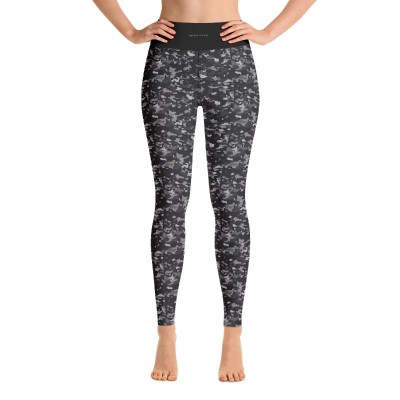 Bena & Eva Yoga Leggings - Black Camo Squares